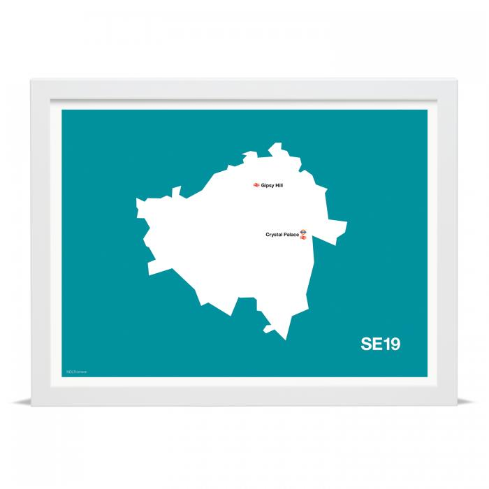 Place in Print MDLThomson SE19 Postcode Map Art Print