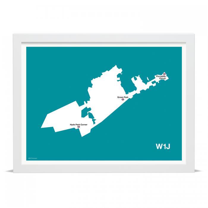Place in Print MDLThomson W1J Postcode Map Art Print
