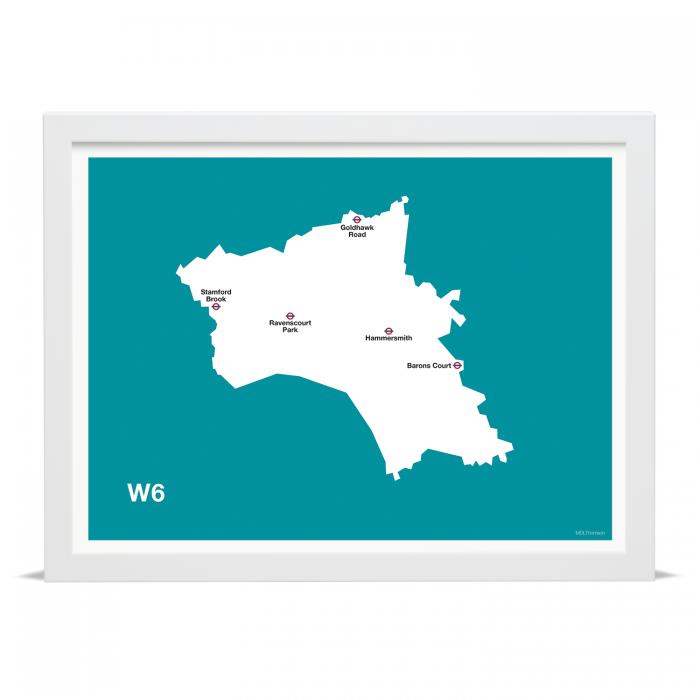 Place in Print MDLThomson W6 Postcode Map Art Print