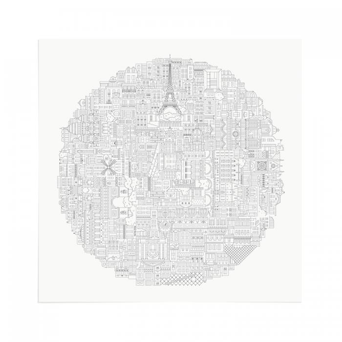 Place in Print The City Works Paris Circular Art Print