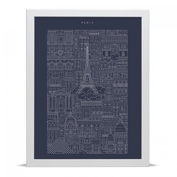 Place in Print The City Works Paris Blueprint Art Print
