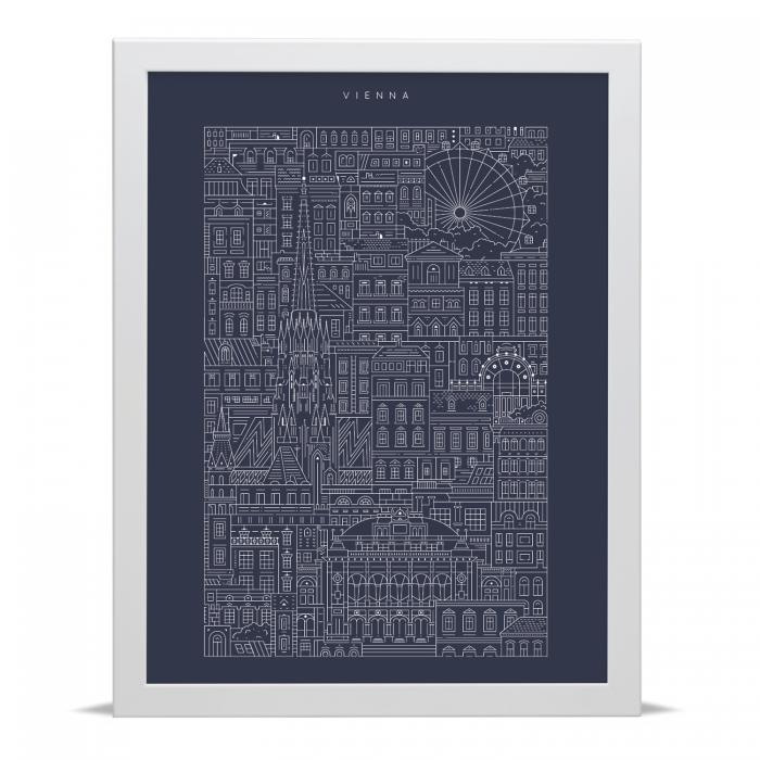 Place in Print The City Works Vienna Blueprint Art Print