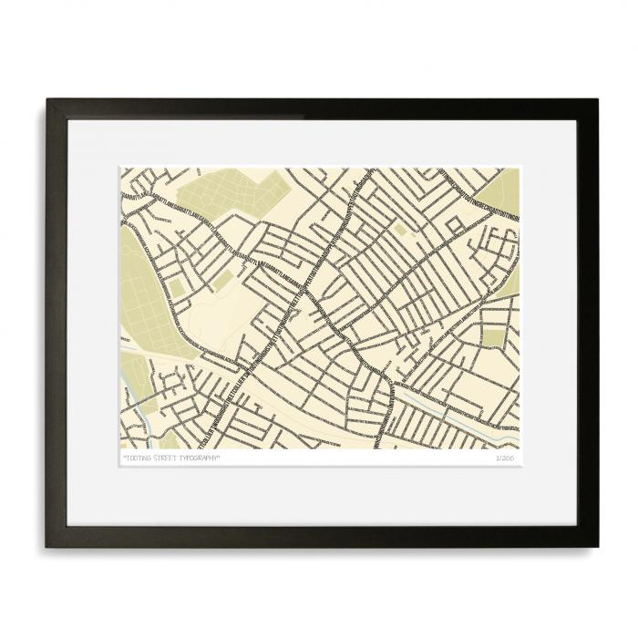 Tooting Street Typography Map Art Poster Print