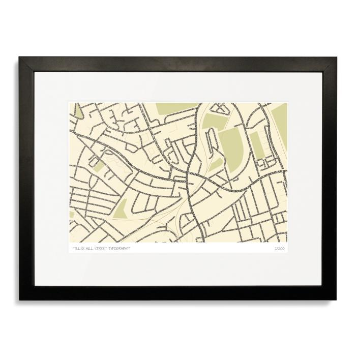 South London Prints Tulse Hill Typographic Street Map