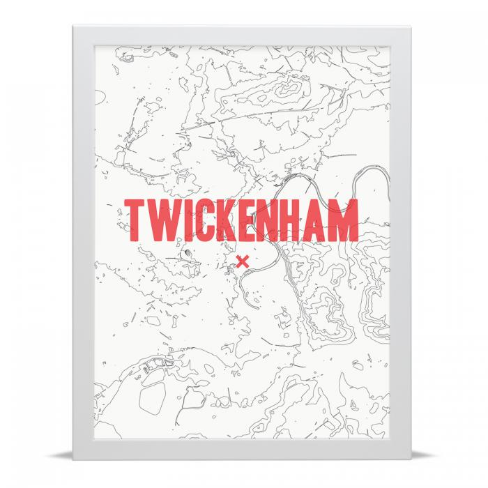 Place in Print Twickenham Contour Map Art Print