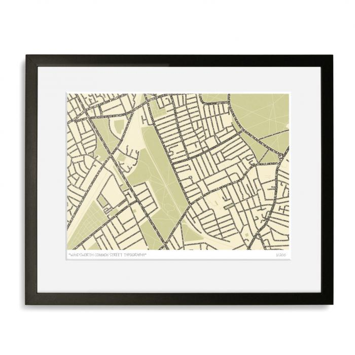 Wandsworth Common Typographic Map Art Print