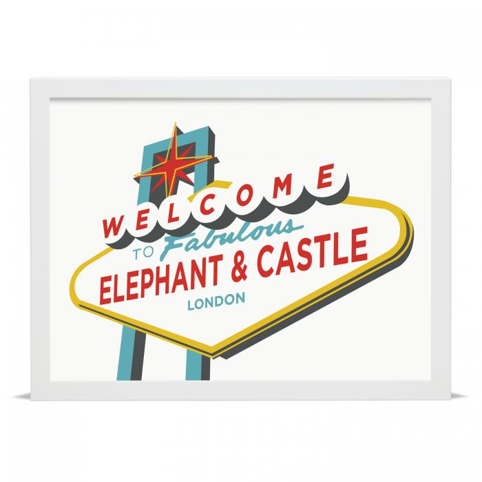 Place in Print Welcome to Fabulous Elephant & Castle Vegas Sign Art Print