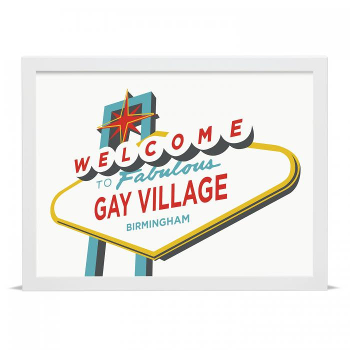 Place in Print Welcome to Fabulous Gay Village, Birmingham Vegas Sign Art Print