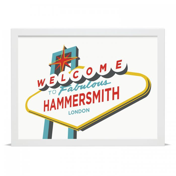 Place in Print Welcome to Fabulous Hammersmith, London Vegas Sign Art Print