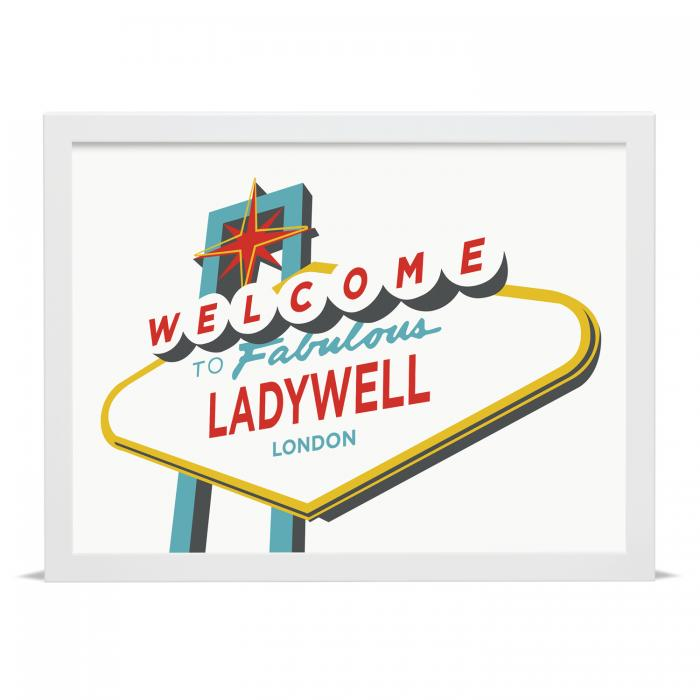 Place in Print Welcome to Fabulous Ladywell Vegas Sign Art Print