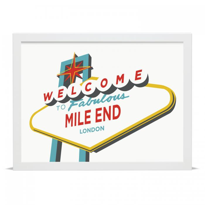 Place in Print Welcome to Fabulous Mile End Vegas Sign Art Print