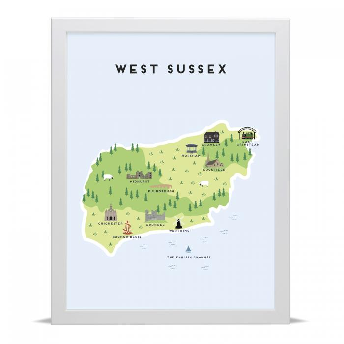 Place in Print Pepper Pot Studios West Sussex Illustrated Map Art Print