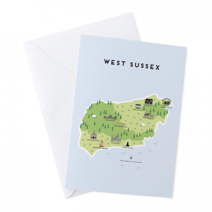 Place in Print Pepper Pot Studios West Sussex Illustrated Map Greetings Card