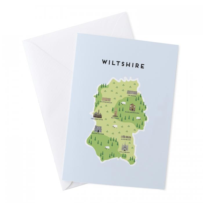 Place in Print Pepper Pot Studios Wiltshire Illustrated Map Greetings Card