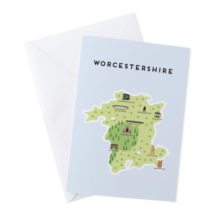 Place in Print Pepper Pot Studios Worcestershire Illustrated Map Greetings Card