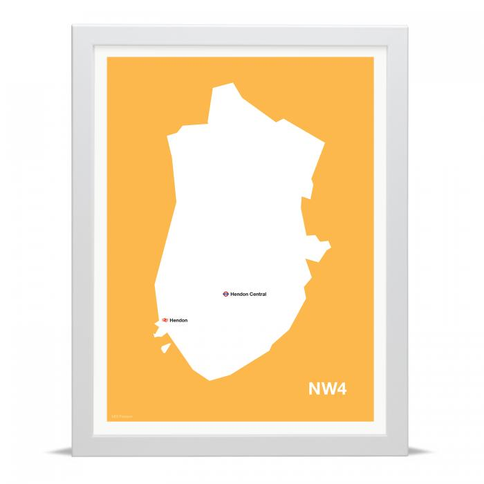 Place in Print MDLThomson NW4 Postcode Map Art Print