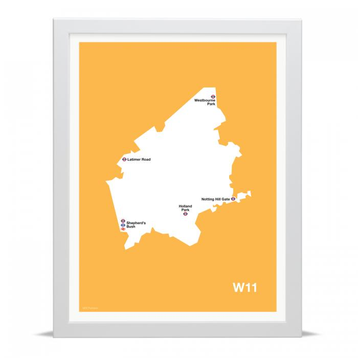 Place in Print MDLThomson W11 Postcode Map Art Print