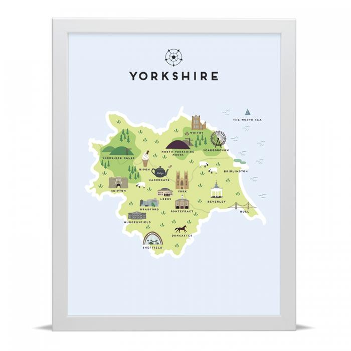 Place in Print Pepper Pot Studios Yorkshire Illustrated Map Art Print