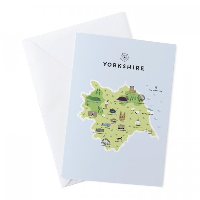 Place in Print Pepper Pot Studios Yorkshire Illustrated Map Art Print Greetings Card