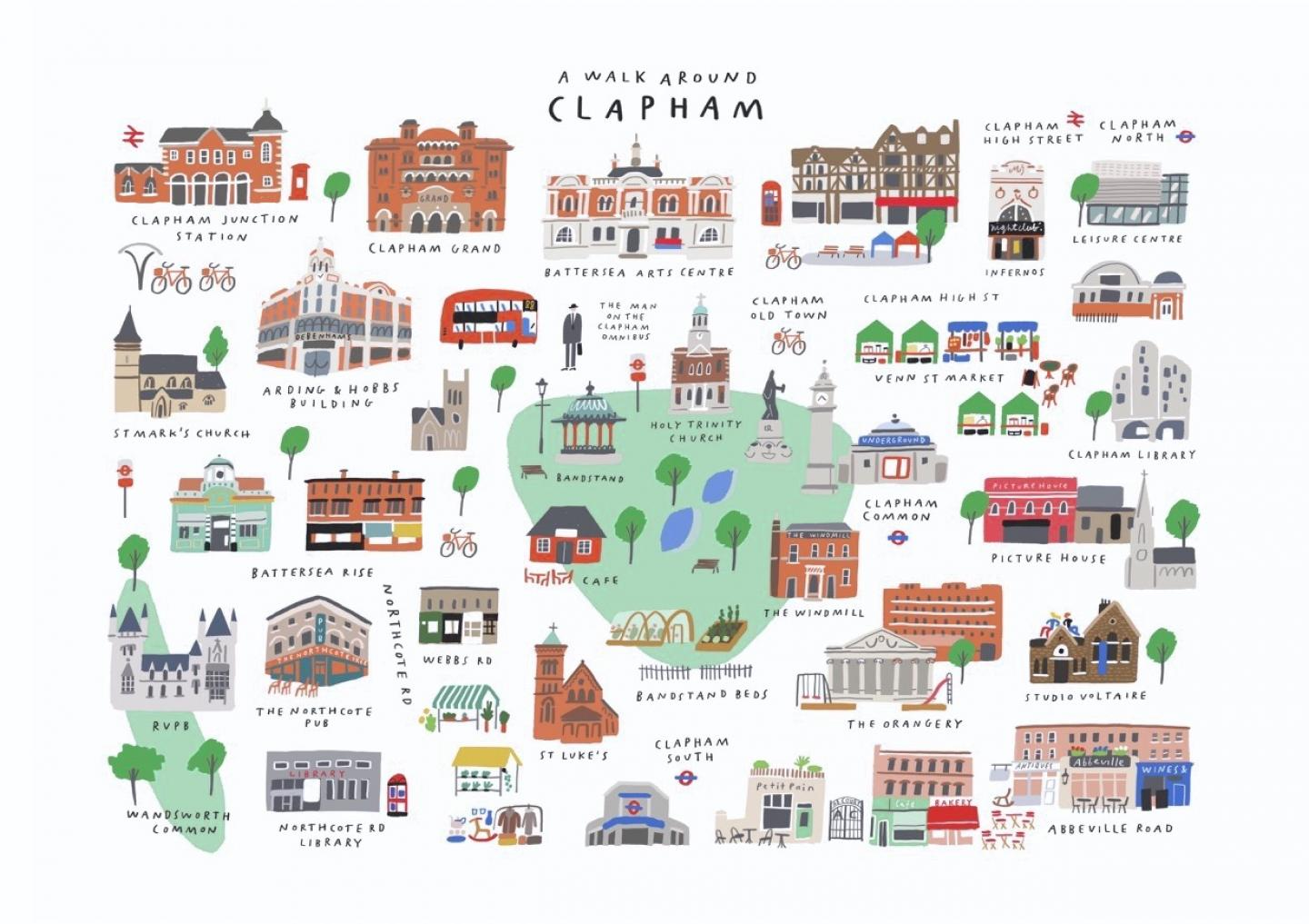 Place in Print Mercedes Leon Walk Around Clapham Art Map