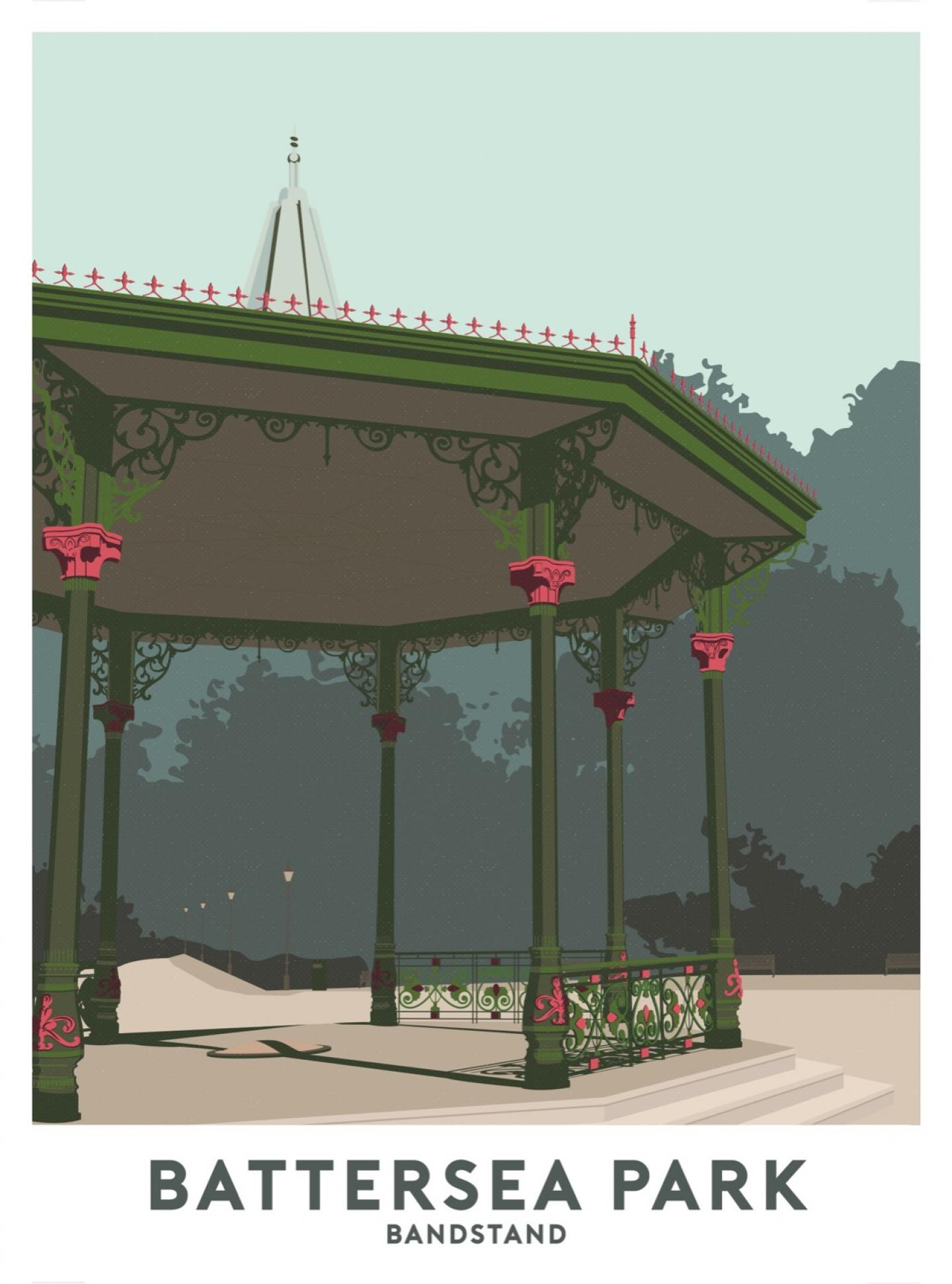Place in Print Battersea Park Bandstand Travel Poster Art Print