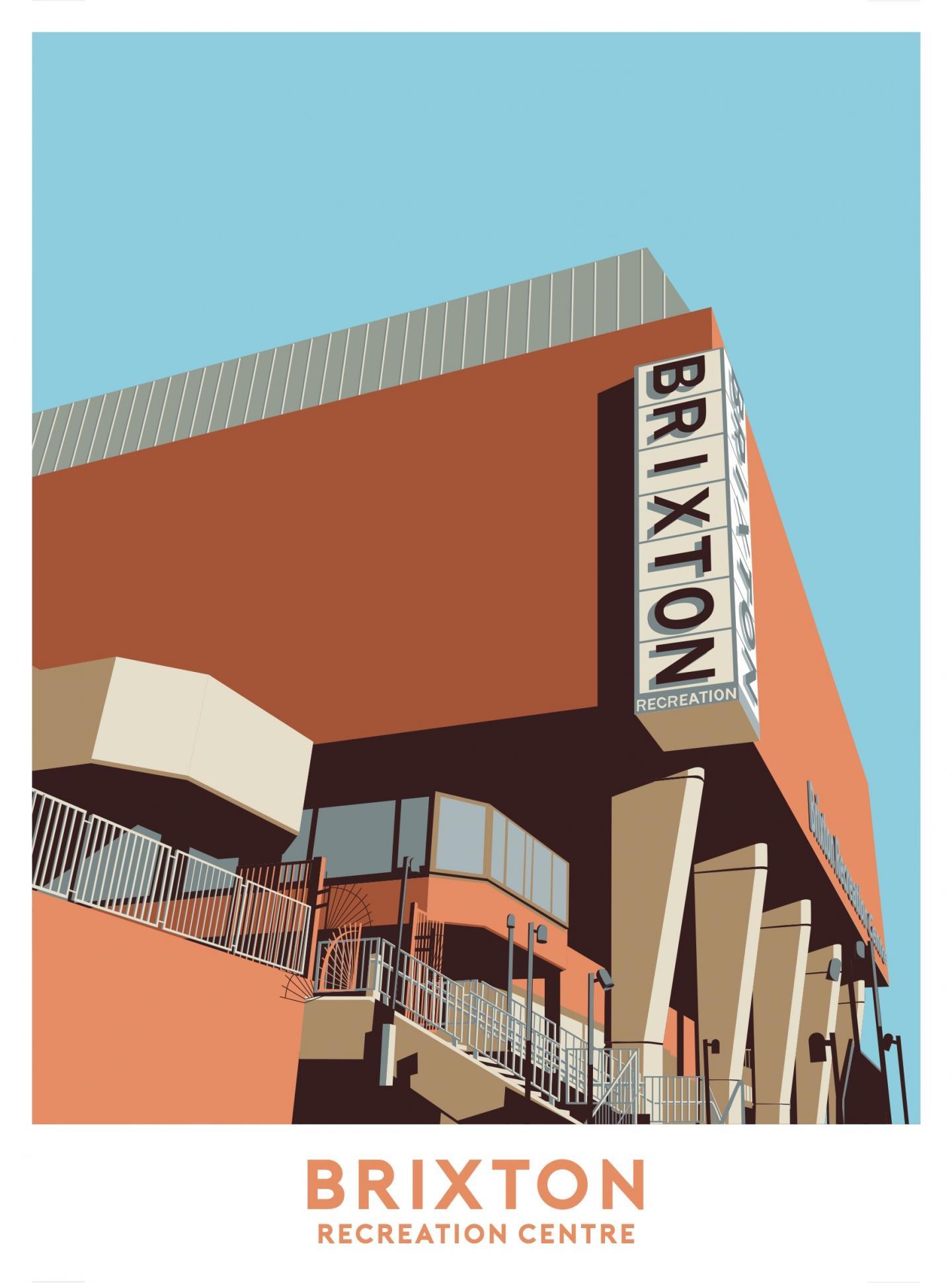 Place in Print Brixton Recreation Centre Rec Travel Poster Art Print