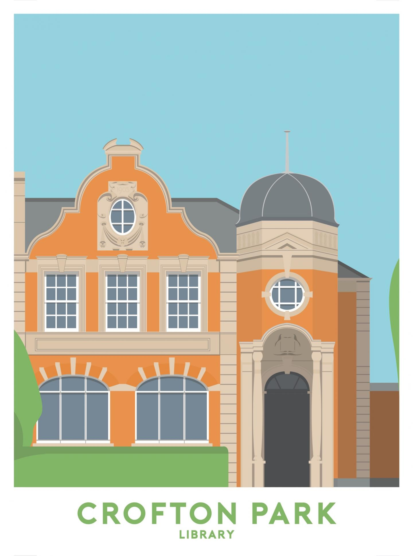 Place in Print Crofton Park Library Travel Poster Art Print