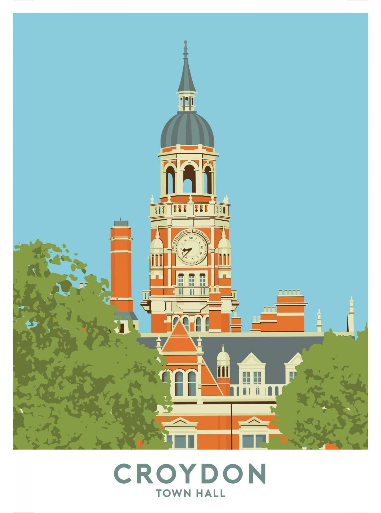 Place in Print Croydon Town Hall Travel Poster Art Print