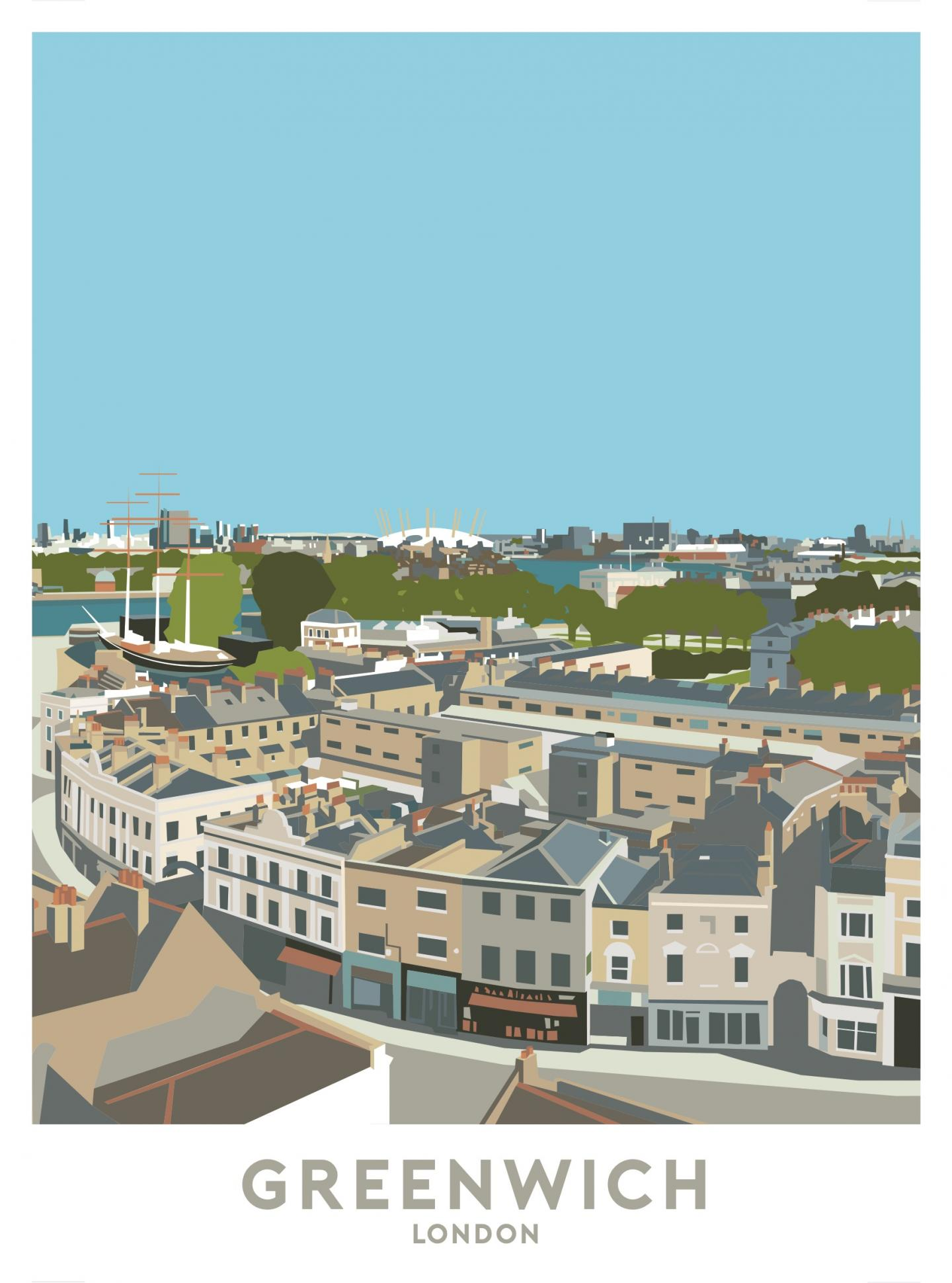 Place in Print Greenwich Aerial Travel Poster Art Print