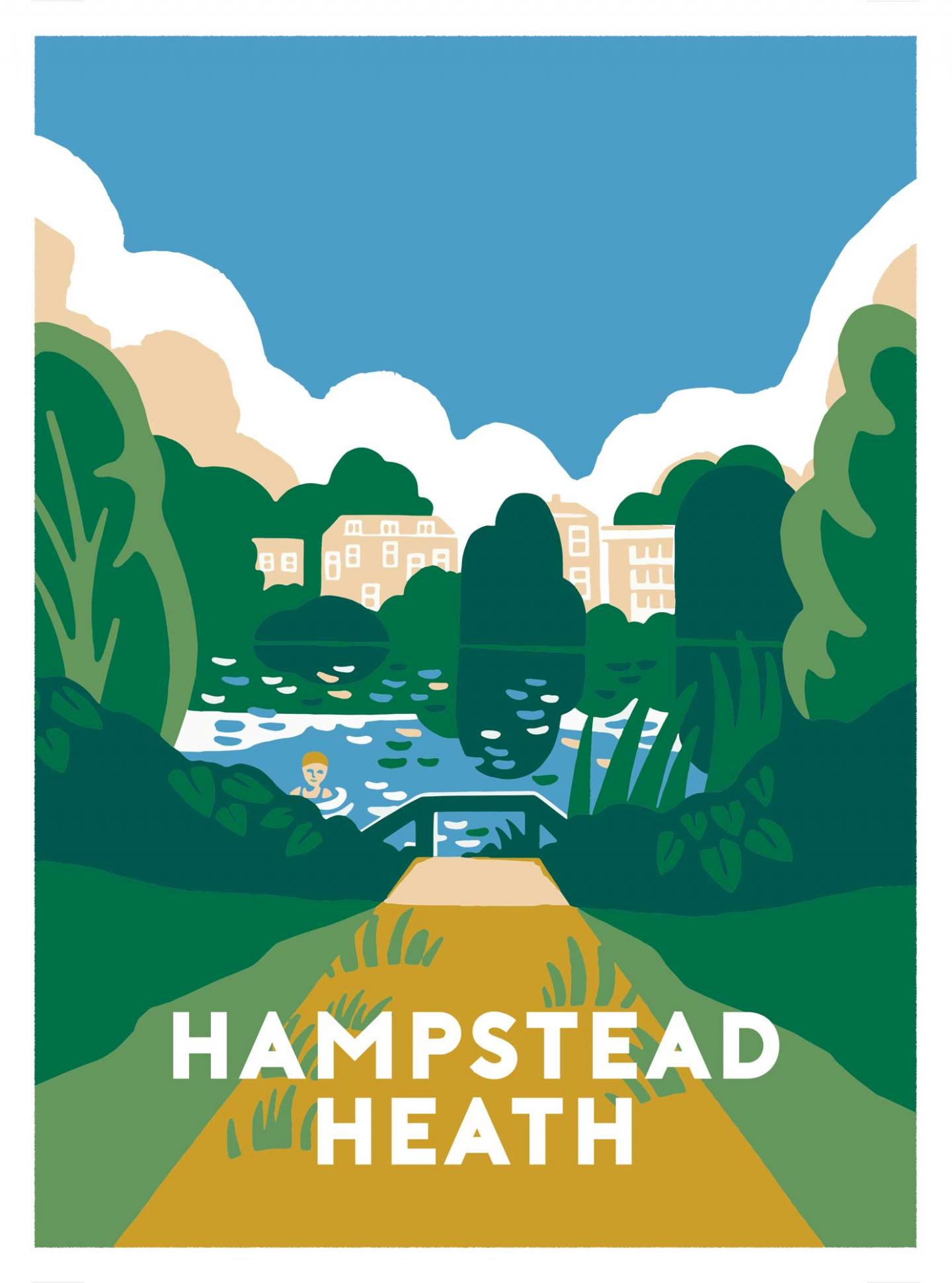 Place in Print Ginette Guiver Hampstead Heath Art Print