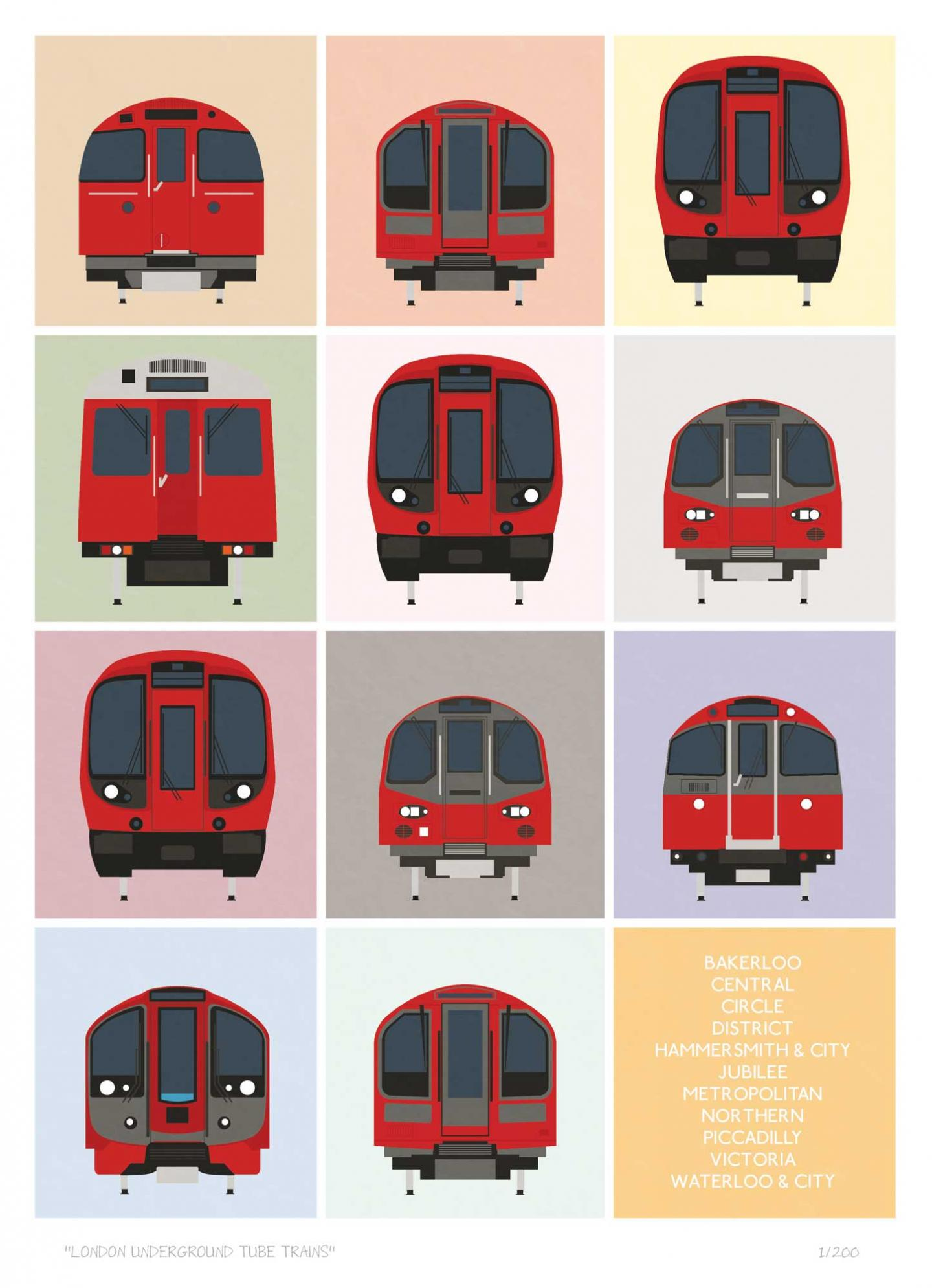 South London Prints London Underground Tube Trains
