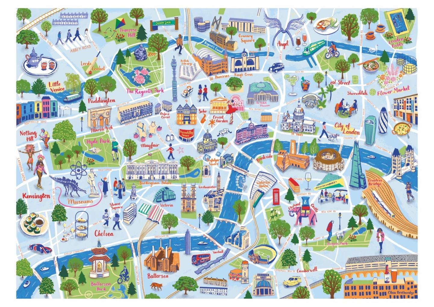 Place in Print Olivia Brotheridge Central London Map Art Print