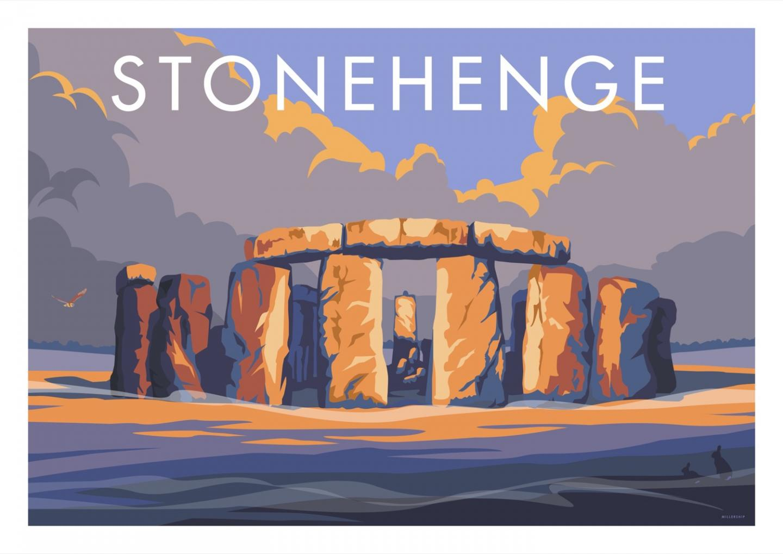 Place in Print Stephen Millership Stonehenge Travel Poster Travel Poster Art Print