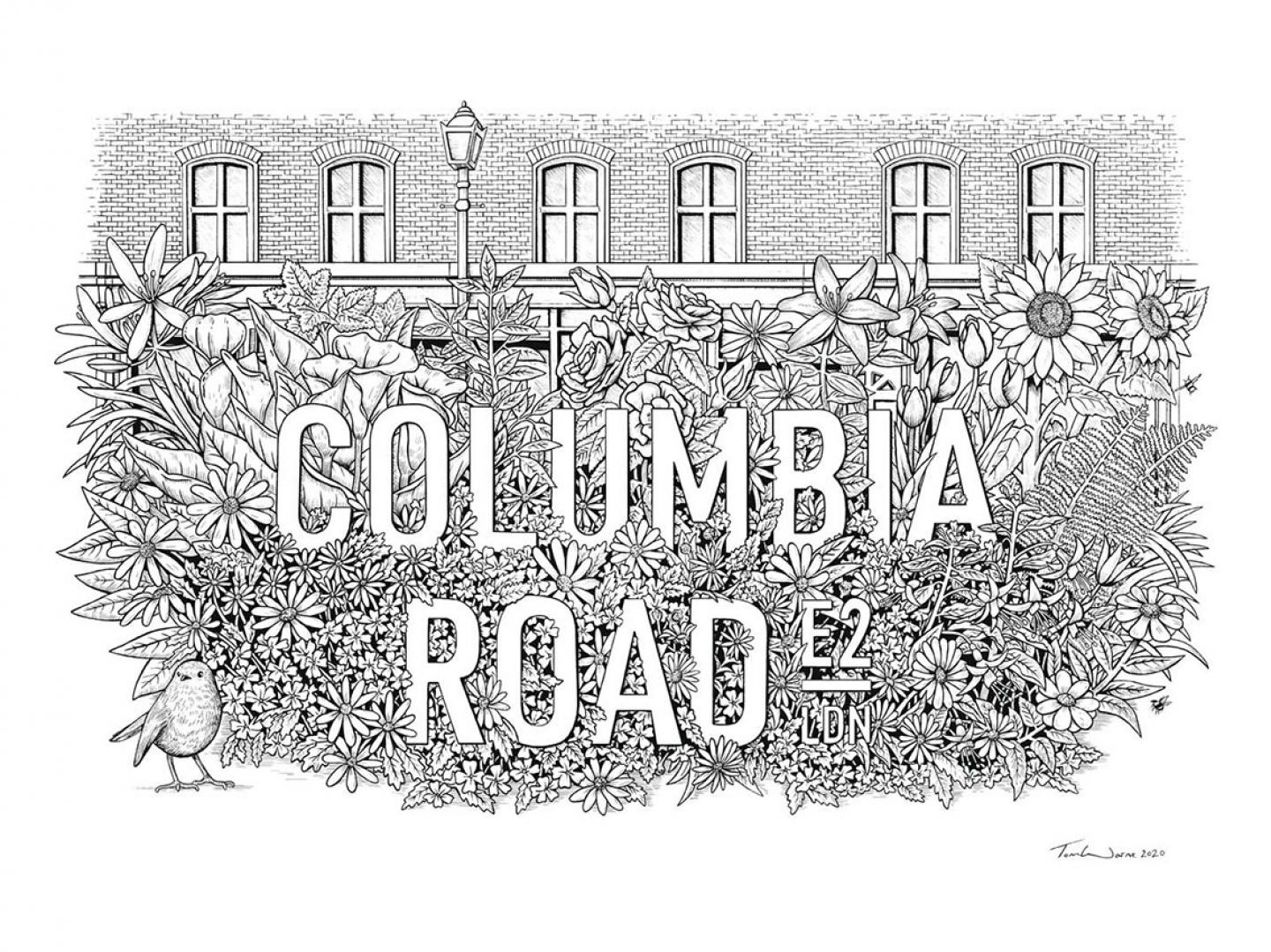 Place in Print Tom Warne Columbia Road E2 Travel Poster Art Print