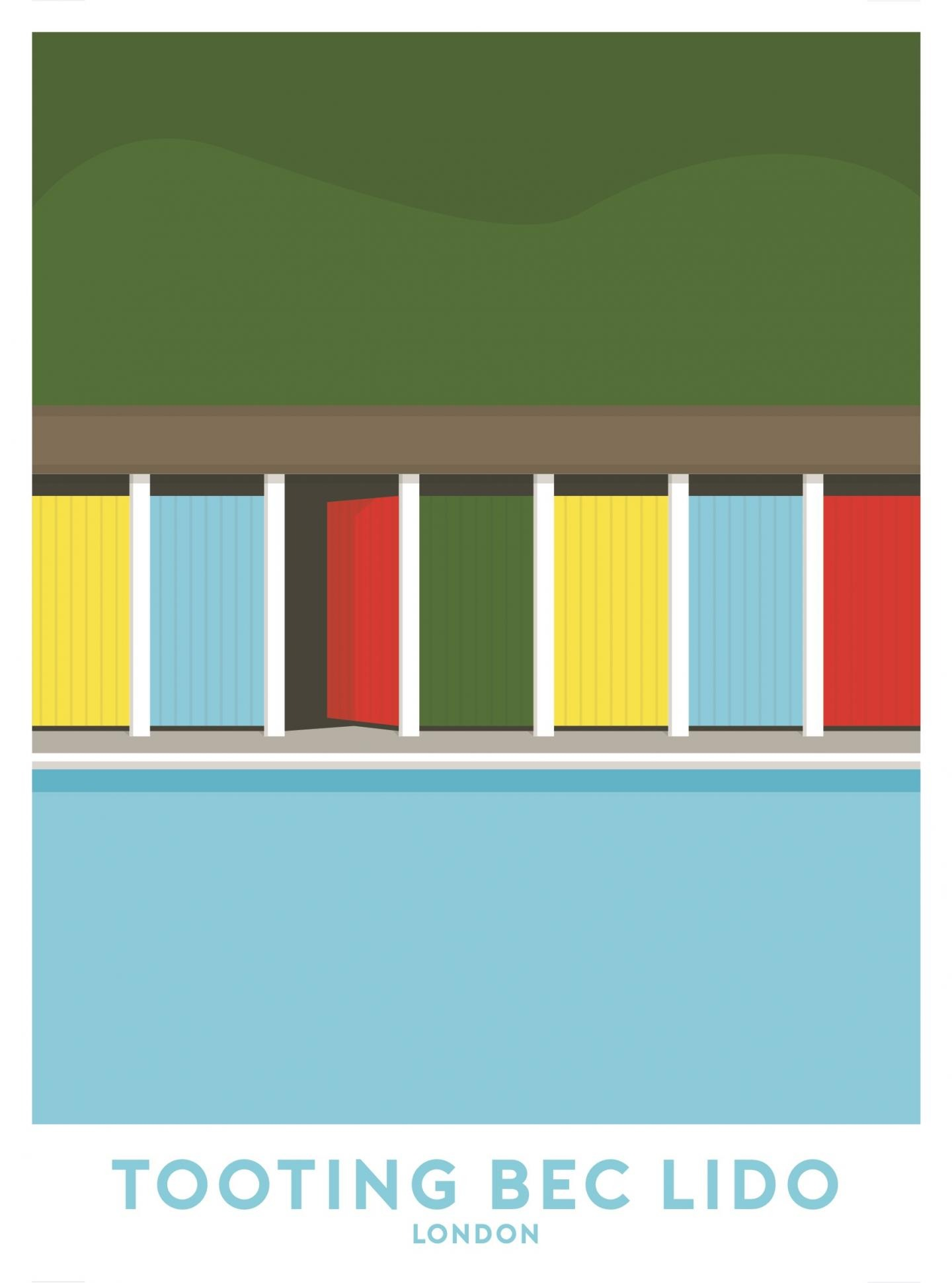 Place in Print Tooting Bec Lido Travel Poster Art Print