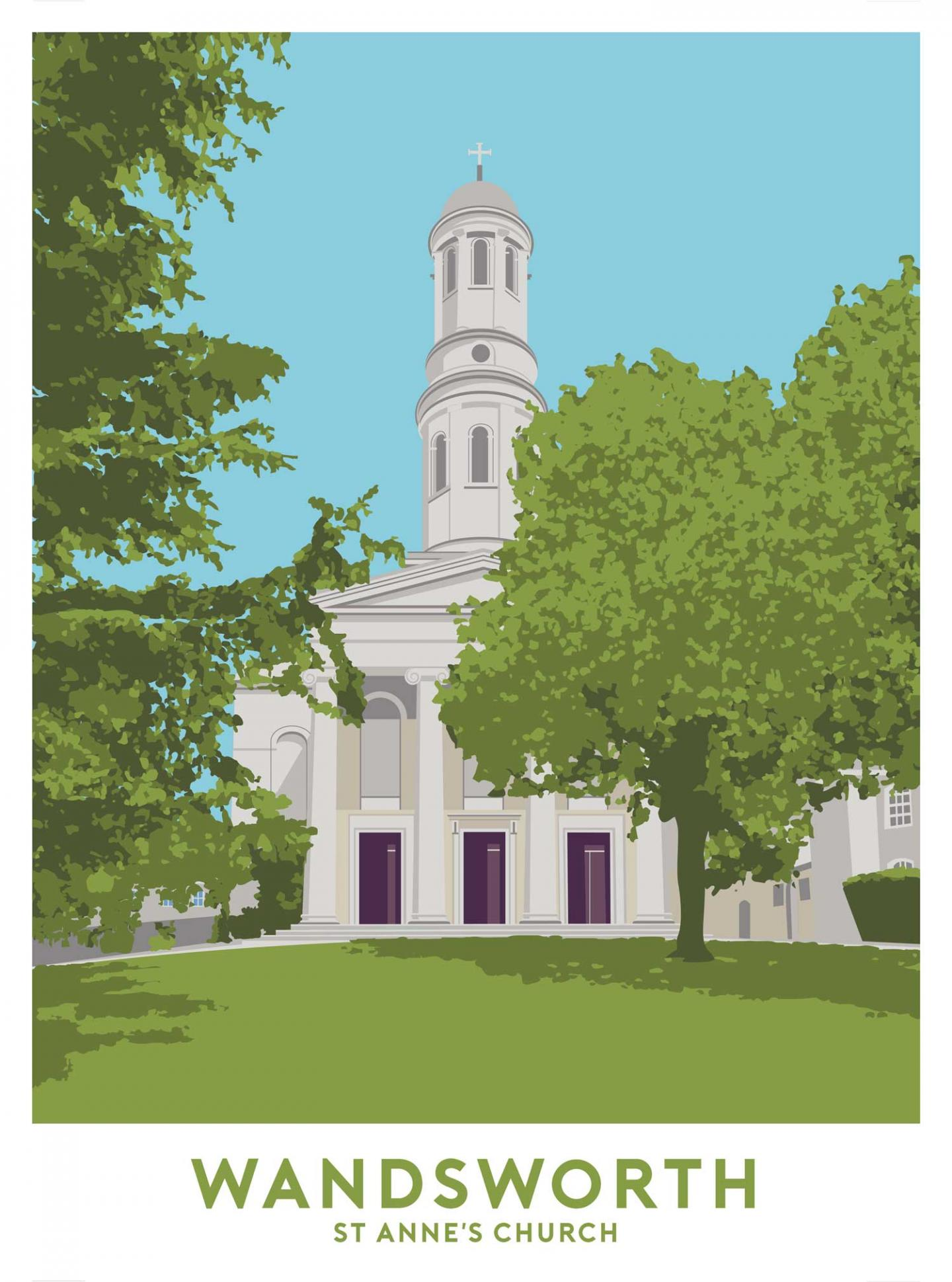 Place in Print St Anne's Church, Wandsworth Travel Poster Art Print