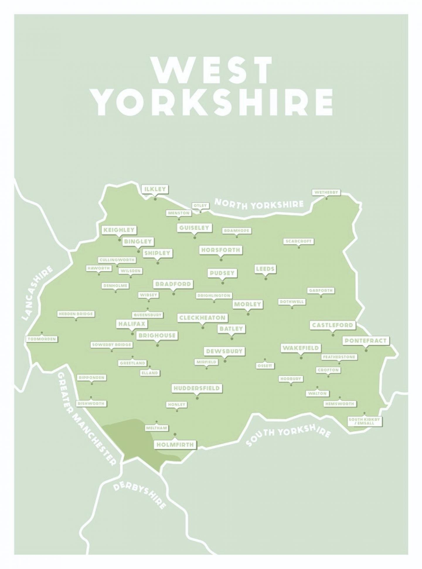 Place in Print West Yorkshire County Map Art Print