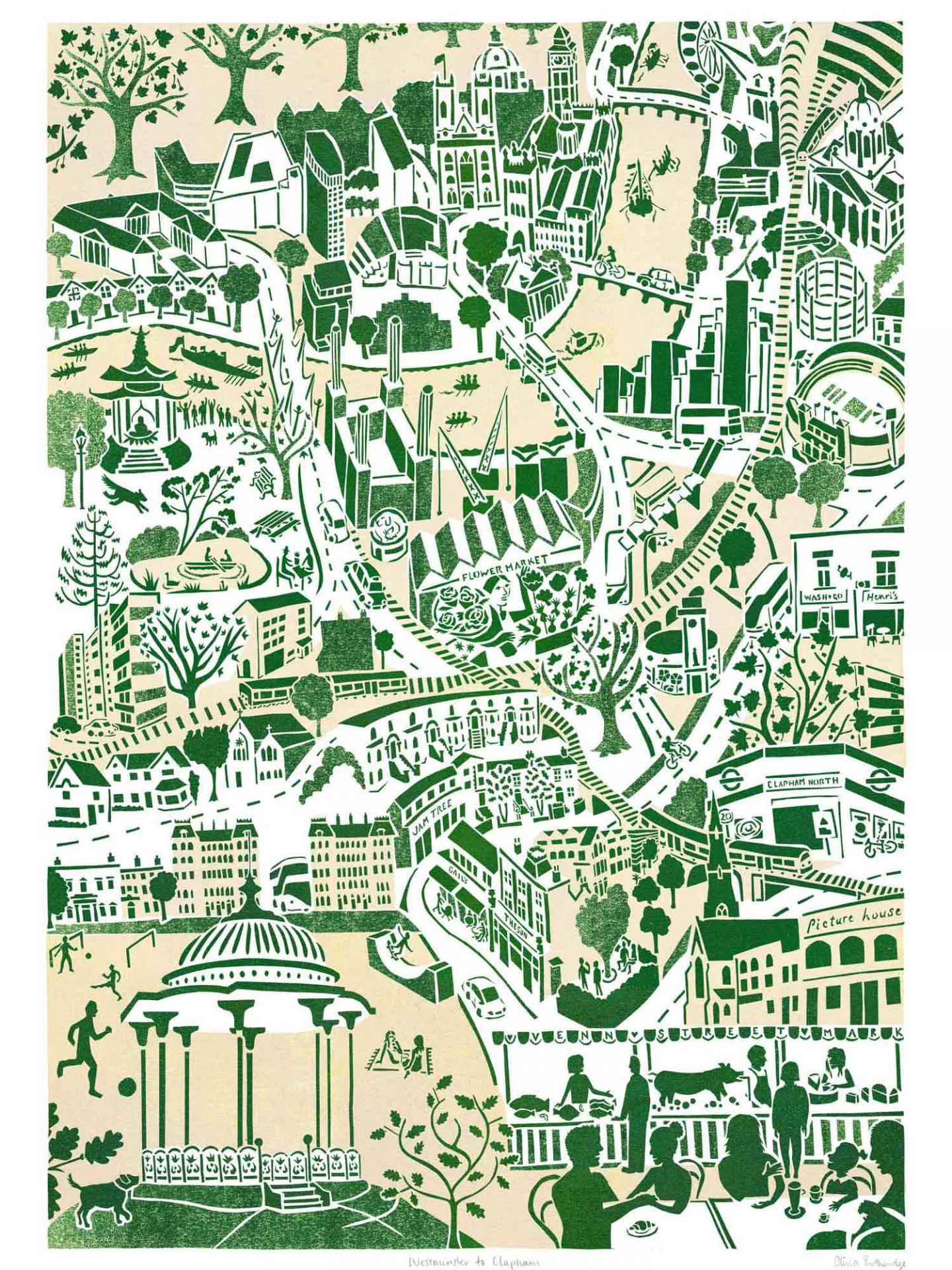 Place in Print Olivia Brotheridge Westminster to Clapham Map Art Print
