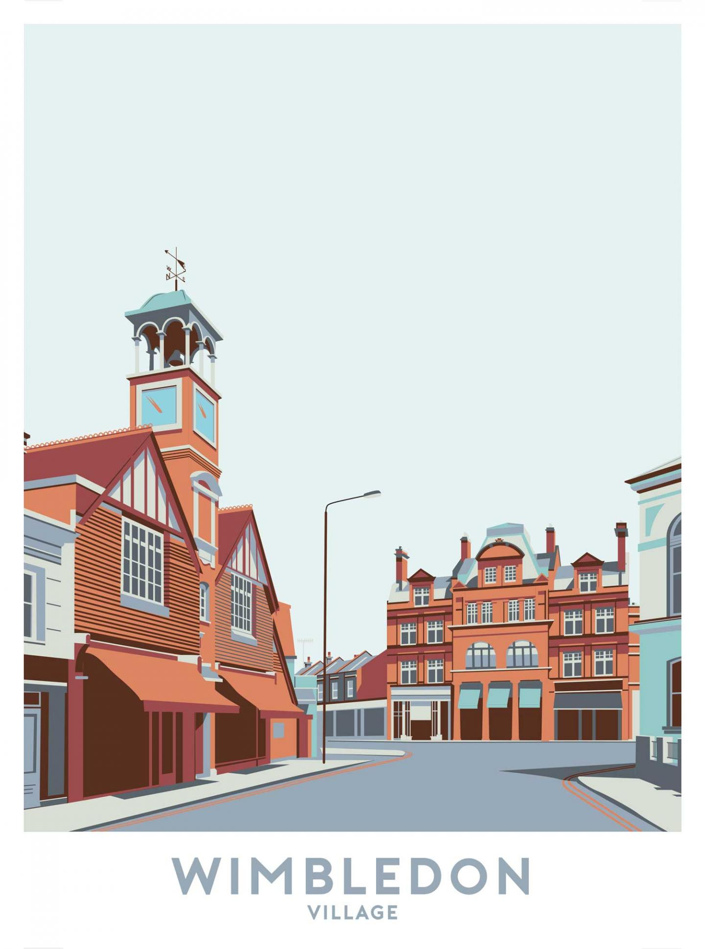 Place in Print Wimbledon Village Travel Poster Art Print