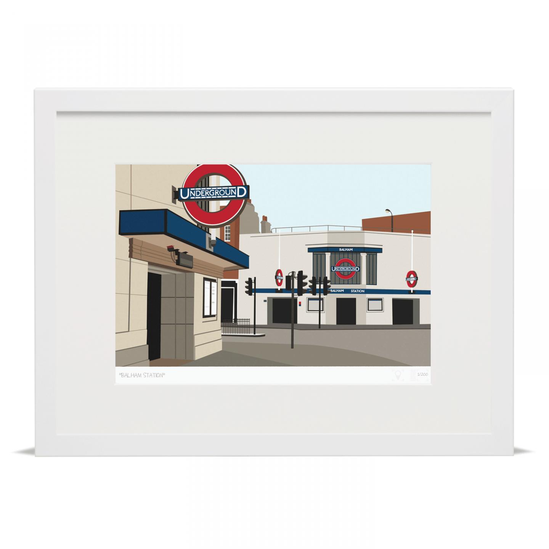 Balham Tube Underground Station Art Poster Print