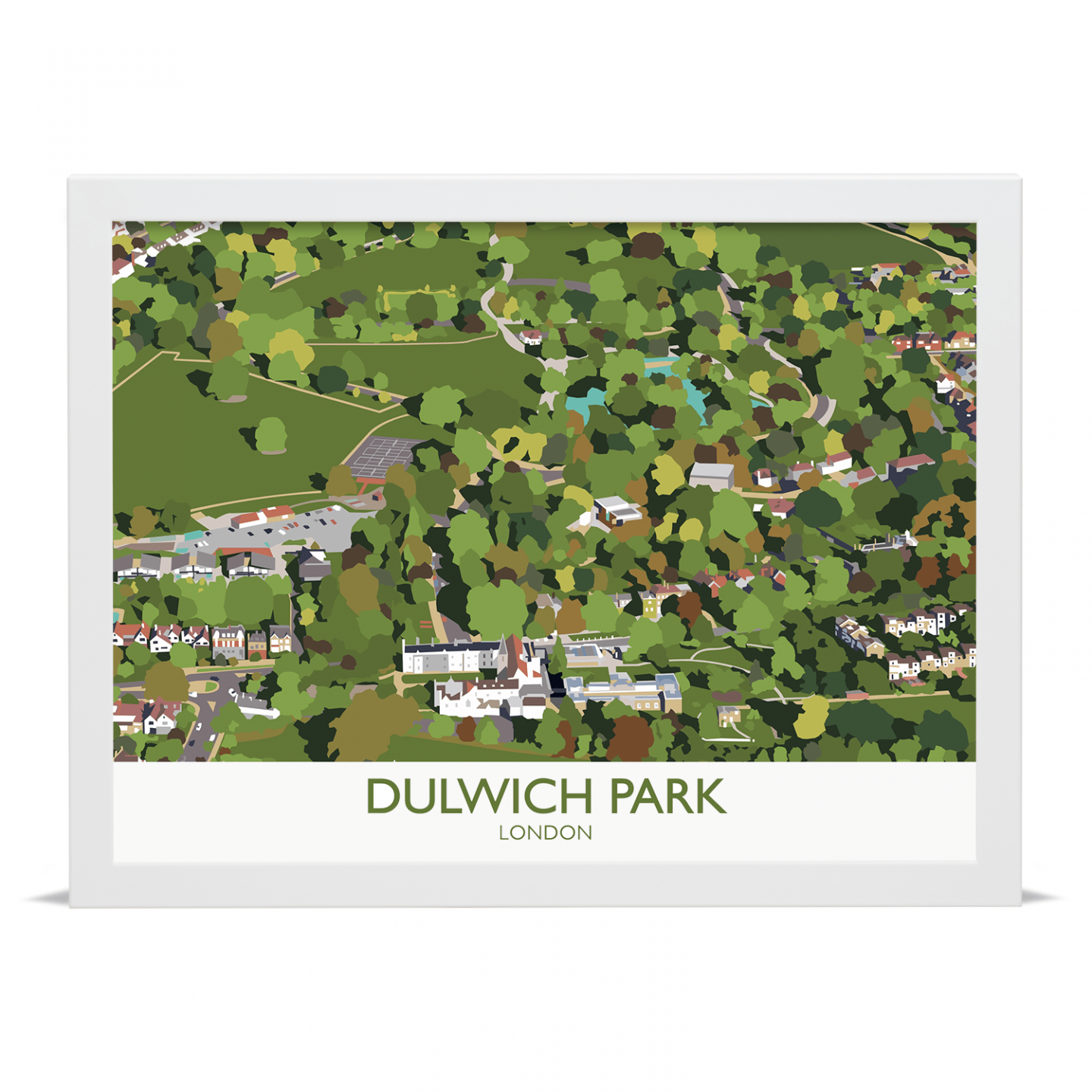Place in Print Dulwich Park Aerial View Art Print