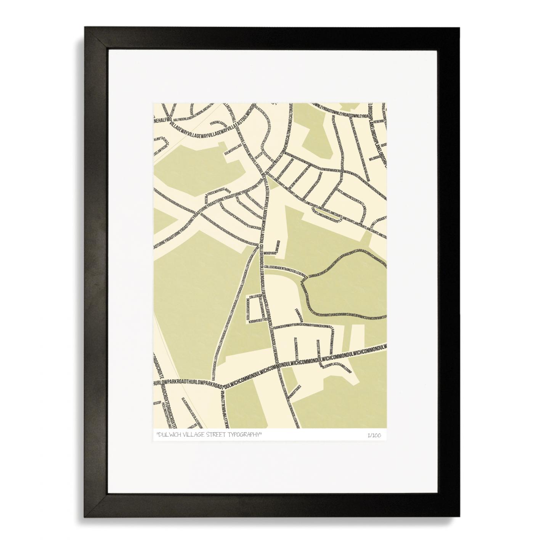 Dulwich Village Street Typography Map Art Poster Print