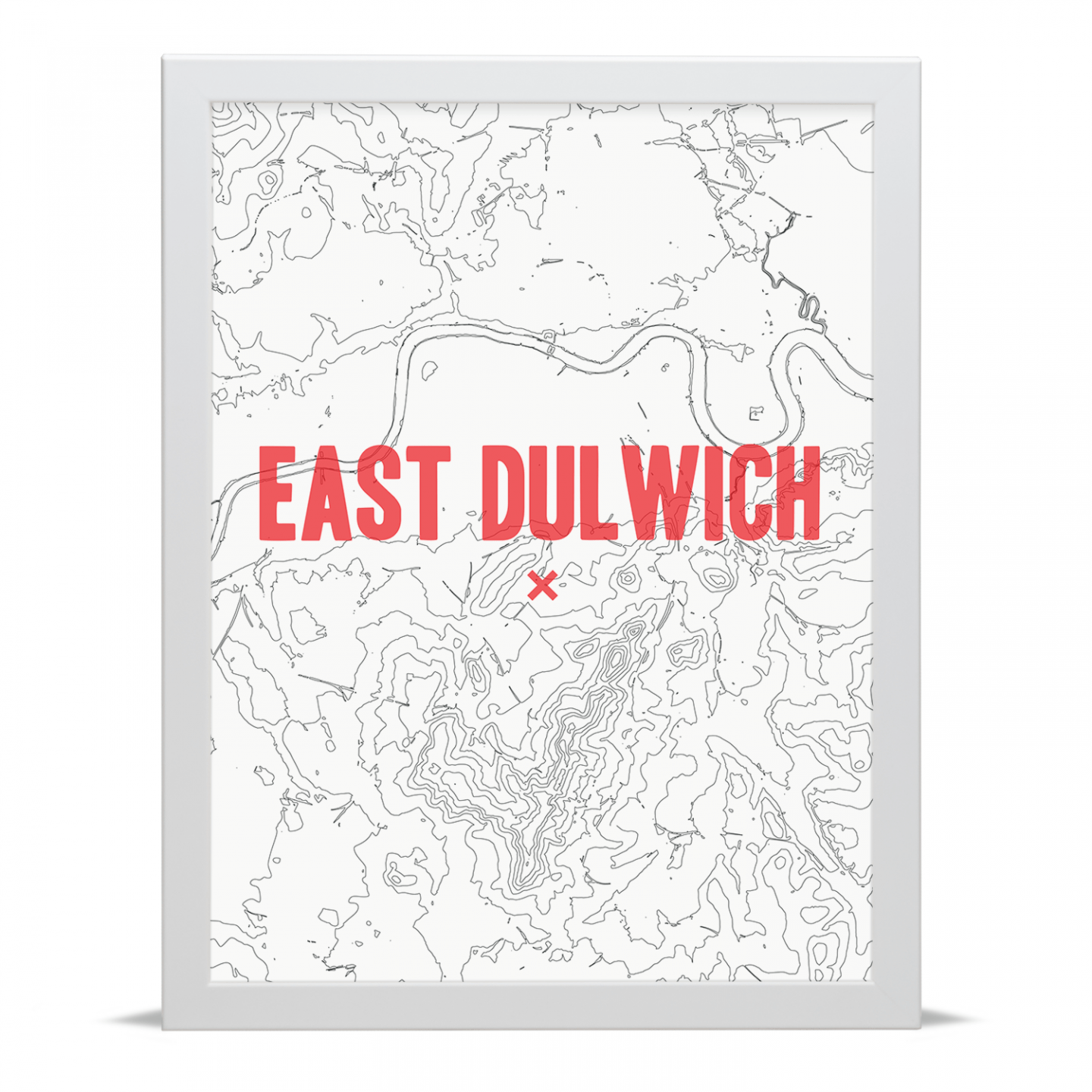 Place in Print East Dulwich Contour Map Art Print