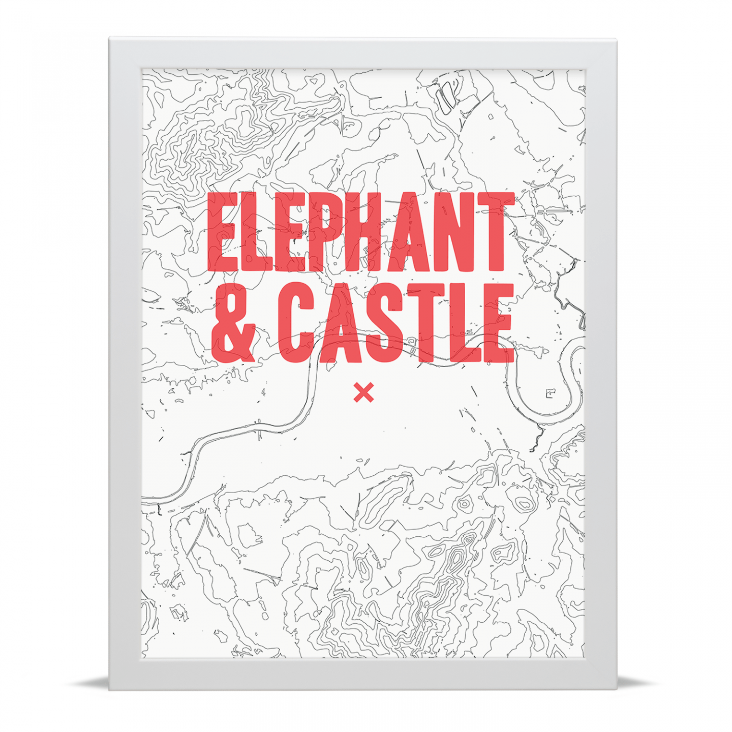 Place in Print Elephant and Castle Contour Map Art Print