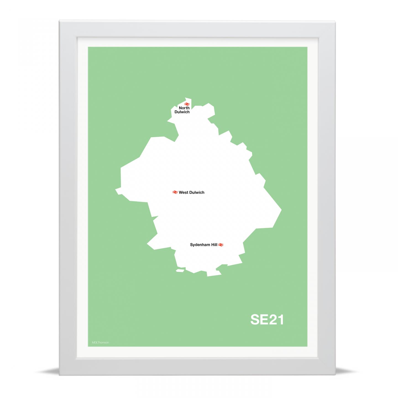 Place in Print MDLThomson SE21 Postcode Map Art Print