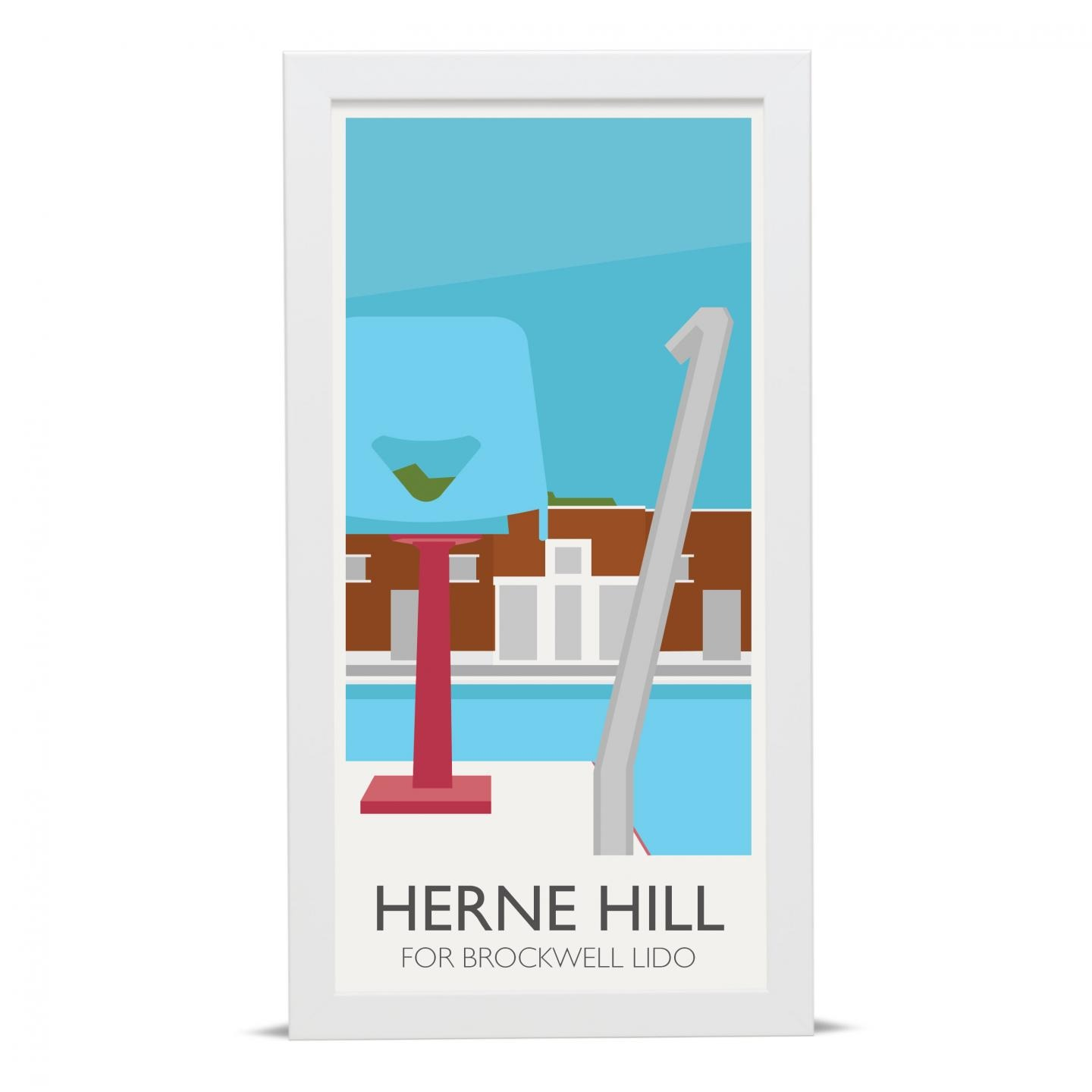 Place in Print Herne Hill Lamppost Brockwell Lido Art Poster Print