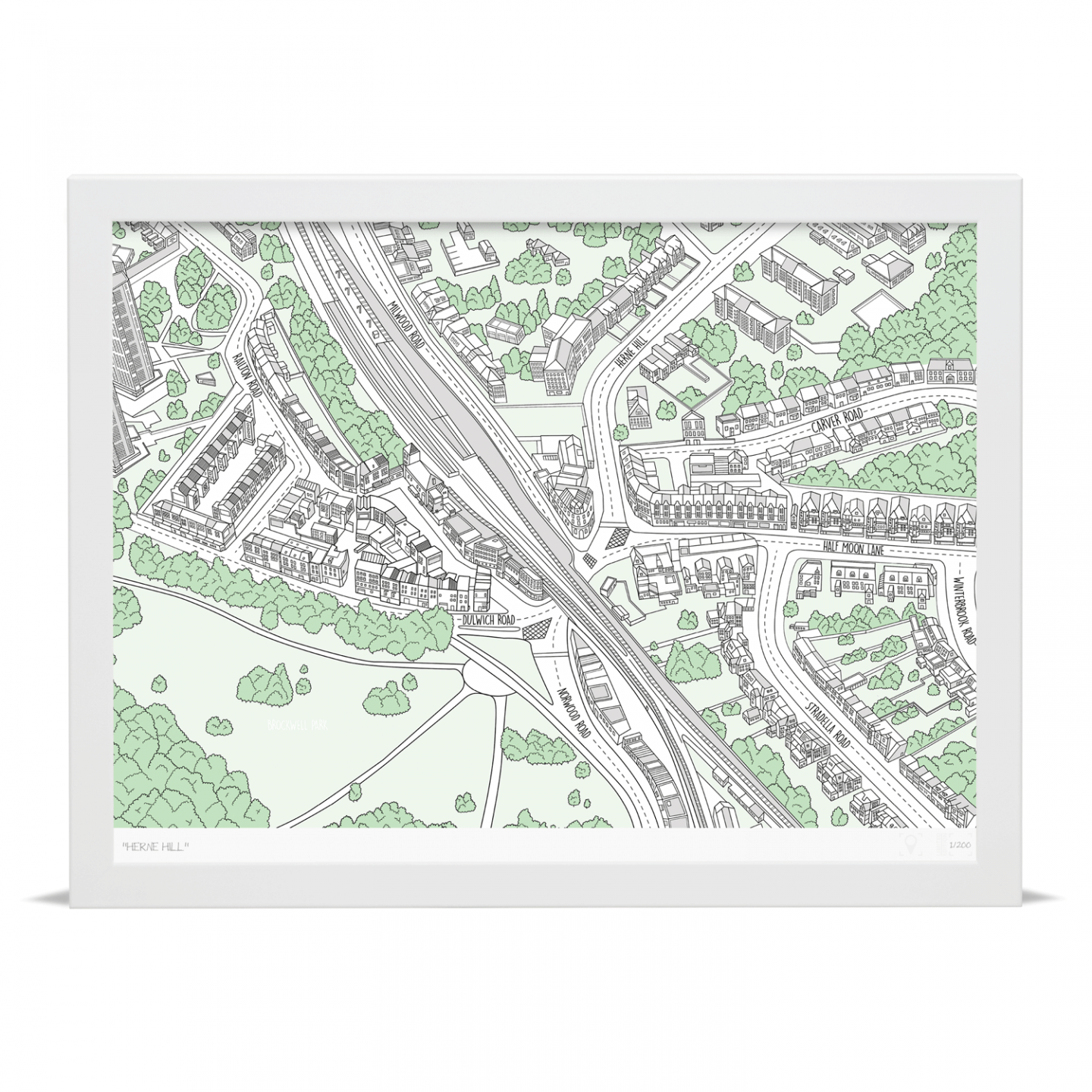 Place in Print Herne Hill Illustrated Map Art Poster Print