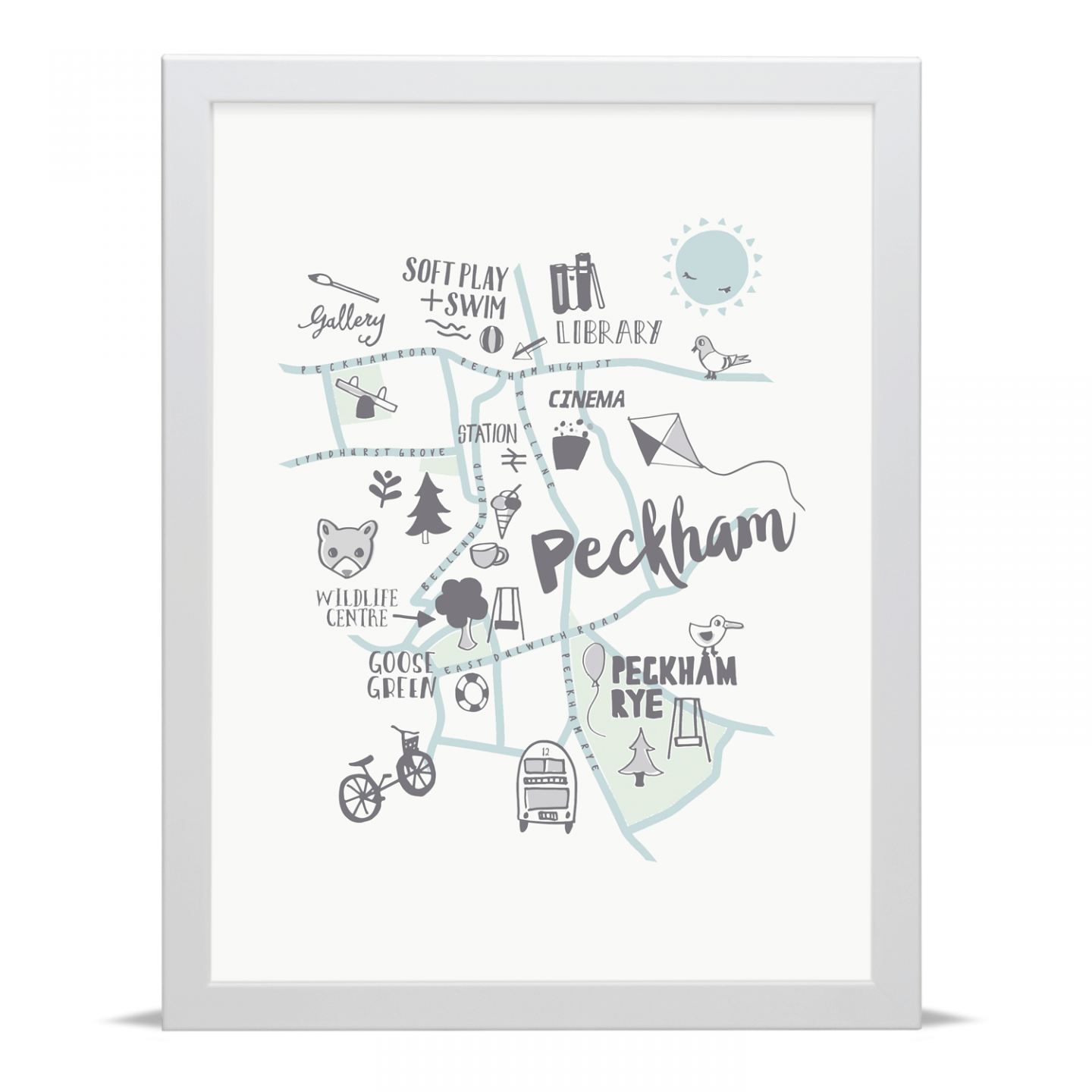 Place in Print Small Dots Peckham Kids Childs Map Art Print