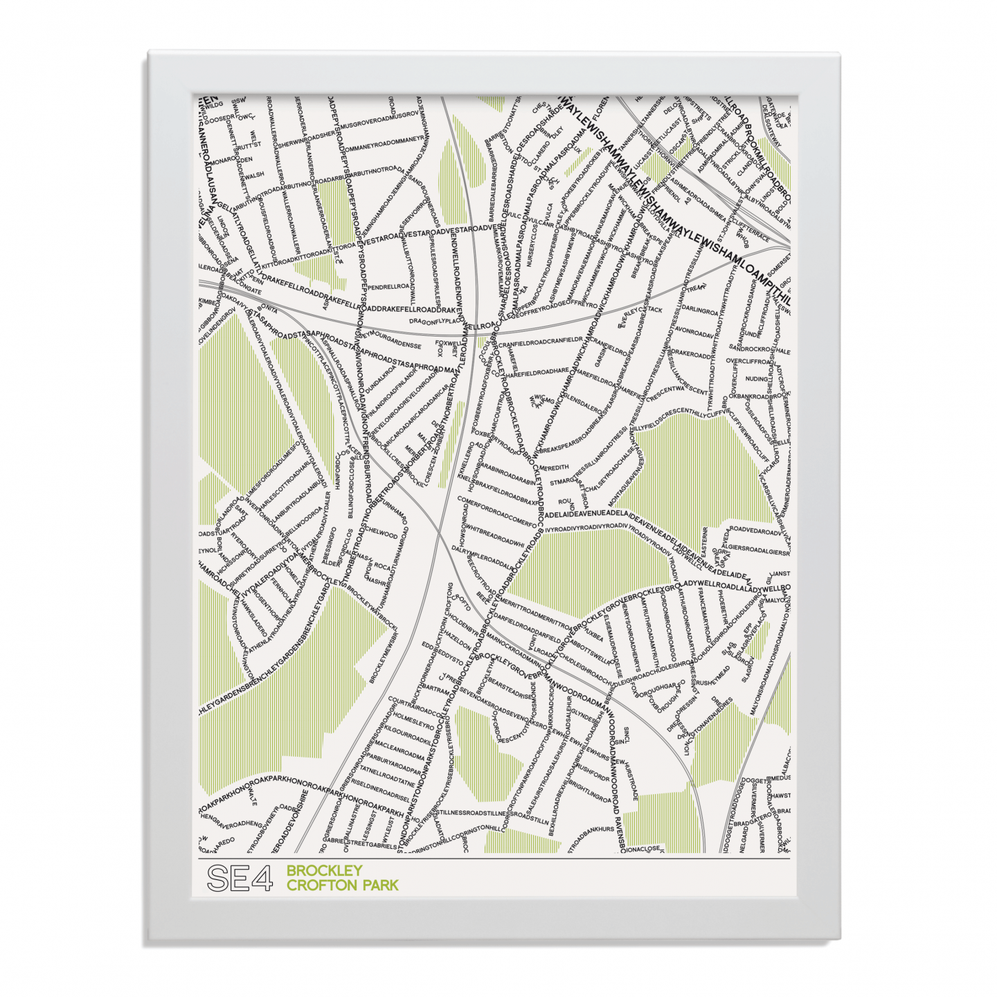 Place in Print SE4 Typographic Map Art Poster Print