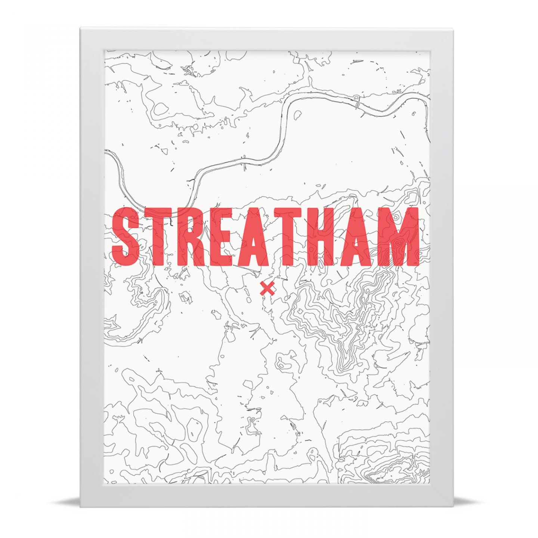 Place in Print Streatham Contour Map Art Print